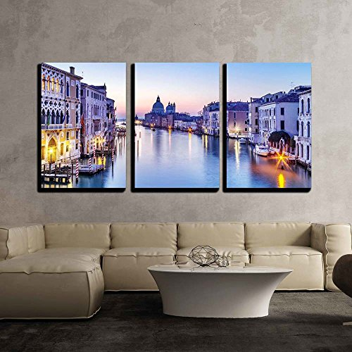 Italy Venice Art - wall26 - 3 Piece Canvas Wall Art - Dusk in Venice, Italy - Modern Home Decor Stretched and Framed Ready to Hang - 16