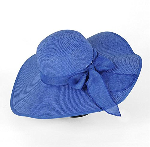 df6a16dd391 GAMT Big Bow Ribbon Female Beach Hat Large Eaves Hats Straw Cap Sun  Vacation For Women Royal blue