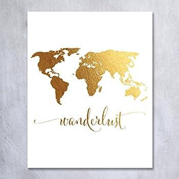 Amazon ushopping gold world map canvas prints artwork 12 wanderlust world map gold foil art print travel world traveler poster modern art contemporary metallic wall gumiabroncs Gallery