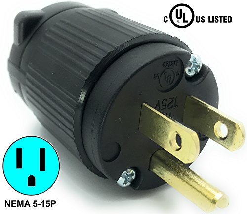 Journeyman-Pro 515PV 15 Amp 120-125 Volt, NEMA 5-15P, 2Pole 3Wire, Straight Blade, Male Plug Replacement Cord Outlet, Commercial Grade PVC Black (BLACK 1-PACK)