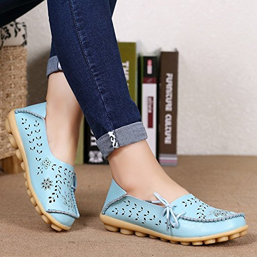 Yixinan Vrouw Holle Casual Schoenen Erwten Rijschoenen Comfortabele Platte Schoenen Leren Veterschoenen Lichtblauw