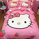 HOLY HOME Strawberry & Hello Kitty, Girls' Birthday Gift Duvet Cover Set Twin Size 70x86inches Rose Red, 4pcs