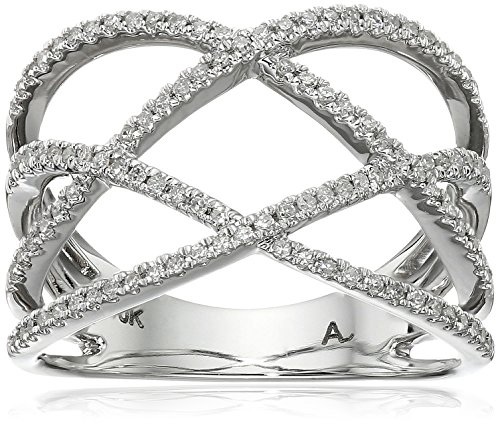 10k White Gold Diamond Intertwined Open Ring (14cttw I-J Color I2-I3 Clarity) Size 7