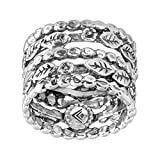 Silpada 'Off the Vine' Multi-Band Floral Ring in Sterling Silver