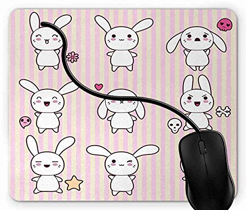 Mouse Pad Cute Bunny Rabbit with Skull Flower Star, used for sale  Delivered anywhere in Canada