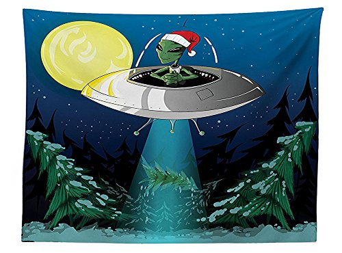 vipsung Outer Space Decor Tablecloth Alien Man with Santa Claus Hat Kidnaps Tree for Christmas Night Airship Noel Print Rectangular Table Cover for Dining Room Kitchen Green Blue