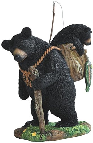 Bear Collectible Figurine (StealStreet SS-G-54290 Black Bear Fishing with Cub Figurines, 7.5