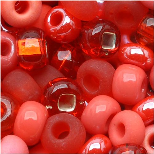 (Jablonex Czech Seed Beads 6/0 'Coral Reflections' Mix Red Pink (1 Ounce))