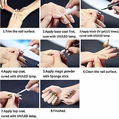 Elite99 Metallic Nail Chrome Powder,Shinning Mirror Effect Nail Polish Glitter Powder,1g Chrome Powder+Sponge Stick Makeup Manicure DIY Kit