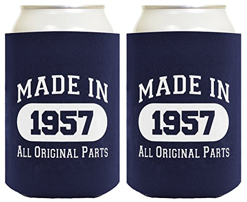 60th Birthday Gift Dad - 60th Birthday Gift Coolie Made 1957 Can Coolers Coolies 2 Pack Navy