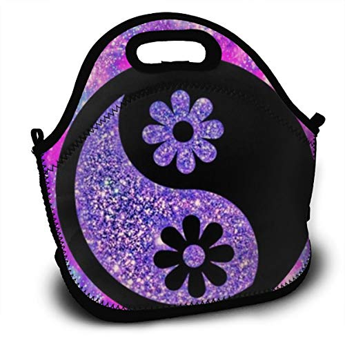 Dejup Lunch Bag Yin Yang Flower Tote Reusable Insulated Lunchbox, Shoulder Strap with Zipper for Kids, Boys, Girls, Women and Men ()