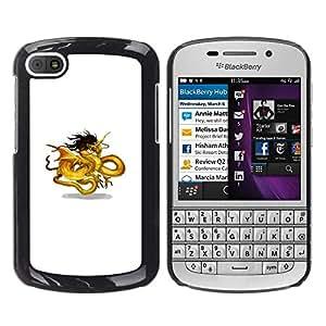 Paccase / SLIM PC / Aliminium Casa Carcasa Funda Case Cover - Golden Yellow Black Dragon Art Chinese - BlackBerry Q10
