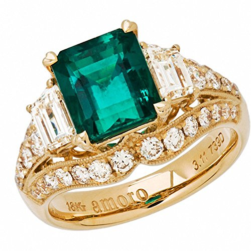 Amoro-18k-Yellow-Gold-Colombian-Emerald-Ring-and-Diamond-Ring-204-cttw-G-H-ColorVS2-SI1-Clarity