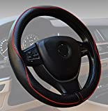 Steering Wheel Covers Universal 15 inch Genuine Leather Protector Anti-Slip Durable Breathable Sports Wave Pattern Black with Red Lines