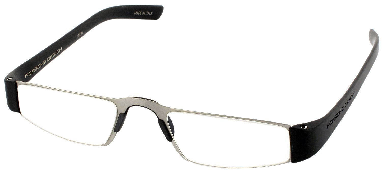 Porsche 8801 Single Vision Half Frame Designer Reading Glasses, Titanium/Black, +1.50