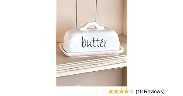 New Farmhouse Shabby Chic White CREAMY BUTTER DISH Ceramic Holder