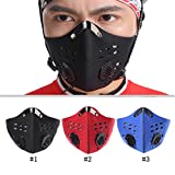 Ezyoutdoor Anti-dust Half Face Mask with Filter Neoprene for Bike Bicycle Riding Motorcycle Outdoor Sports Size L (Black)