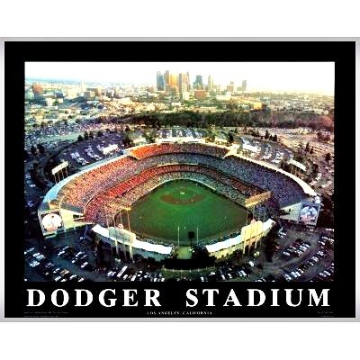 Framed Los Angeles Dodger Stadium Aerial Wall Art Print