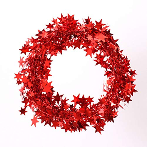 Faerynicethings Red Star Wire Garland - 25ft - Party Supplies