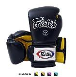 Fairtex Muay Thai Boxing Gloves BGV9 - Heavy Hitter Mexican Style - Minor Change Black Marina Blue 12 14 16 oz Training & Sparring Gloves for Kick Boxing MMA K1 (Black/Yellow, 12 oz)
