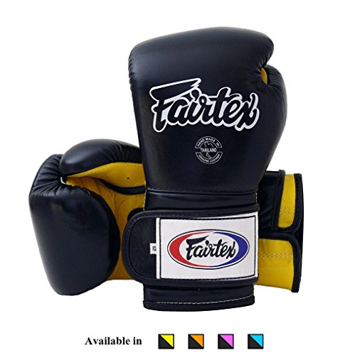 Fairtex Muay Thai Boxing Gloves BGV9 - Heavy Hitter Mexican Style - Minor Change Black Marina Blue 12 14 16 oz Training & Sparring Gloves for Kick Boxing MMA K1 (Black/Yellow, 12 oz)