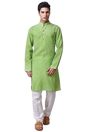 2b2cb72896 Adorro Designer Ruby Silk Regular Fit, Set Of Kurta Pajama For Men - Green &