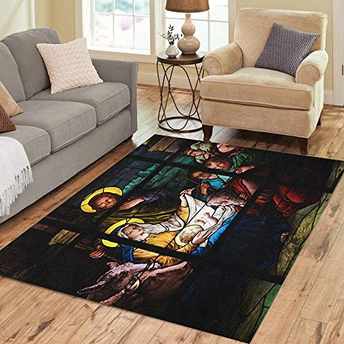 Pinbeam Area Rug Nativity Scene Stained Glass Window in The German Home Decor Floor Rug 5' x 7' ()