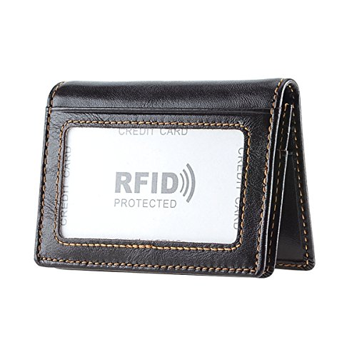 ets RFID Blocking Slim Wallet Money Clip Credit Card Holder Bifold Front Pocket for Men (Dark BROWN) (Simple Card Holder)