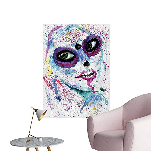 Anzhutwelve Girls Mural Decoration Grunge Halloween Lady with Sugar Skull Make Up Creepy Dead Face Gothic Woman ArtsyBlue Purple W20 xL28 Custom -