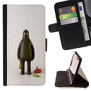 Momo Phone Case / Flip Funda de Cuero Case Cover - Ladrón Robot Fat Dinamita Cash Money - Samsung Galaxy J3 GSM-J300