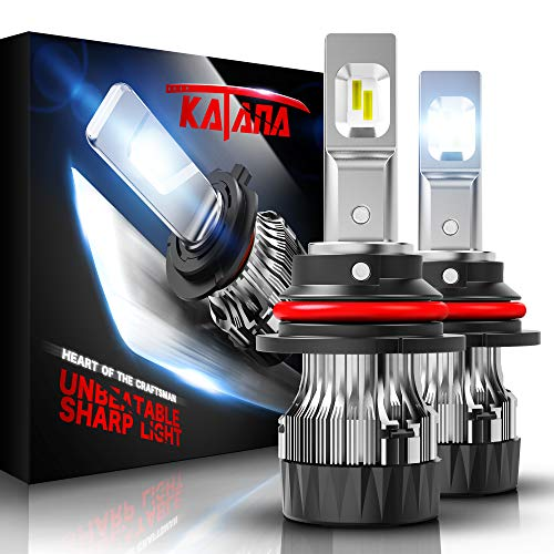 KATANA 9007 LED Headlight Bulbs w/Mini Design,4700Lux 10000LM 6500K Cool White CREE Chips All-in-One Conversion Kit