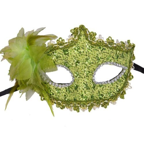 FuzzyGreen Fashion Ladies Women Party Mardi Gras Carnival Costume Venetian Pattern Green Flower and Feathers Lace Sequins Rhinestones Décor Mask (Easy Quick And Cute Halloween Costumes)