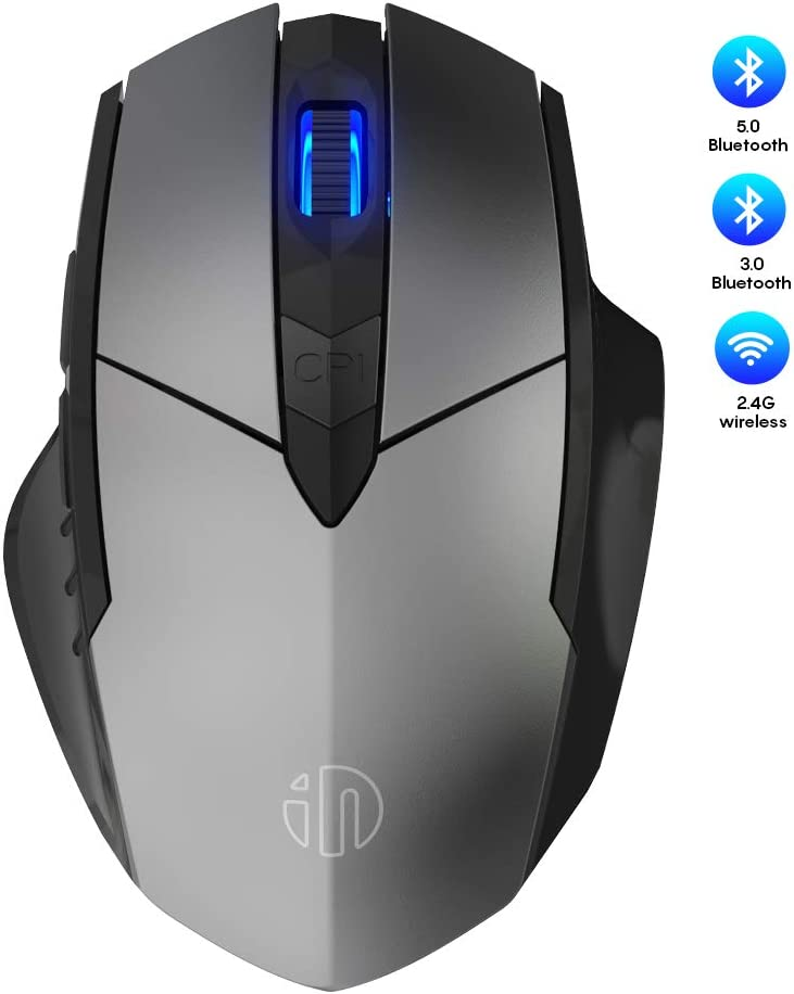 Bluetooth Mouse, Inphic Rechargeable Wireless Mouse Multi-Device (Tri-Mode:BT 5.0/3.0+2.4Ghz) with Silent, 3 DPI Adjustment, Ergonomic Optical Portable Mouse for Laptop Android Windows Mac OS, Grey