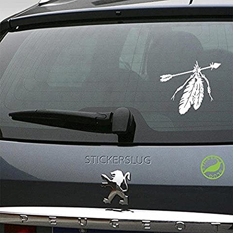 Native American Indian Feathers Decal (gloss white, 5 inch) for car truck window suv boat motorcycle and all other auto glass and bumper in gloss - Native American Indian Feathers