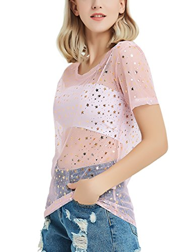 911693ffb50 Perfashion Women's Mesh Tops See Through Glitter Star T-Shirt Blouse ...