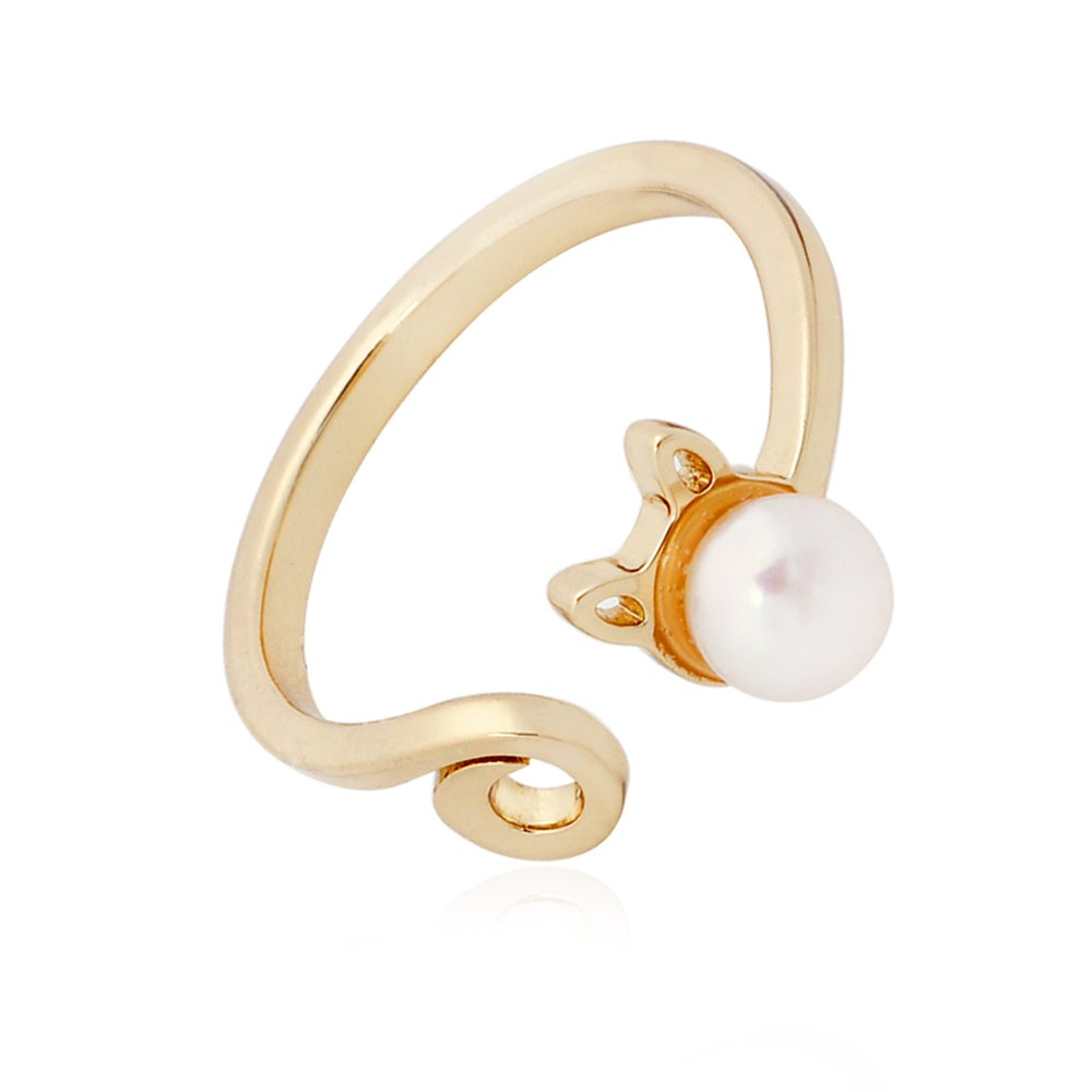 TUSHUO Simple Cute White Fresh Water Pearls Cat Head Opening Ring Best Gift for Cat Lover TS-RI171118WP