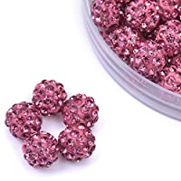 iCherry(TM) 10mm 100pcs/Lot Fuchsia Clay Pave Disco Ball for Rhinestone Crystal Shamballa Beads Charms Jewelry Makings