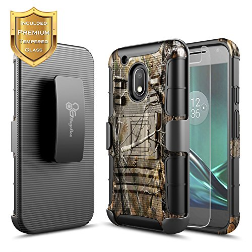 NageBee Moto G4 Play Case with [Tempered Glass Screen Protector], [Heavy Duty] Armor Shock Proof [Swivel Belt Clip] Holster [Kickstand] Combo Rugged Case for Motorola Moto G Play (4th gen) -Camo