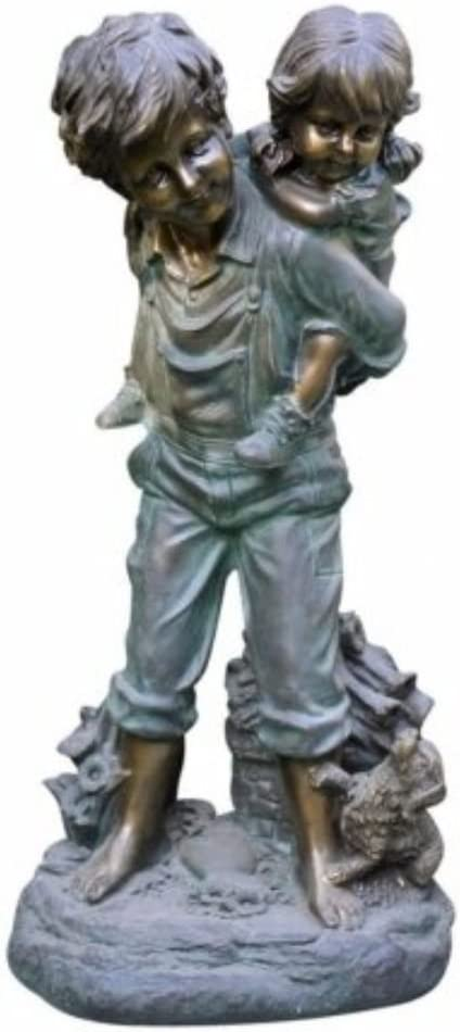 Alpine Corporation GXT484 Piggyback Ride Statue Outdoor Garden, Patio, Deck, Porch-Yard Decoration, 16-Inch Tall, Antique Bronze
