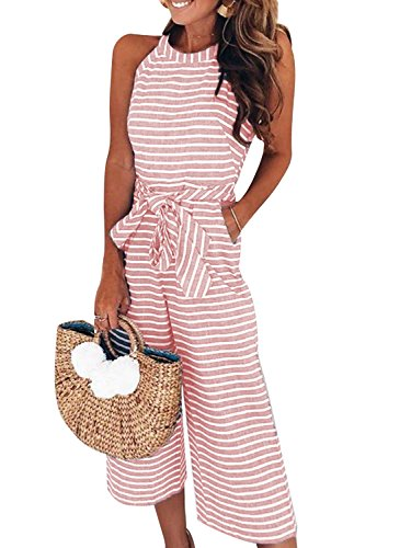 CHOiES record your inspired fashion Women's Striped Belted Jumpsuit Sleeveless Wide Leg Capri Jumpsuit with Pockets XL