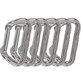 Omega Pacific Carabiner D, Non-Locking, Bright, 6 Pack, USA Made, ISO Cold Forged Aircraft Aluminum Alloy for Climbing, Safety, Rescue, Industrial, and Arborist Uses