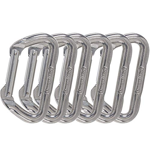 Omega Pacific Non Locking Climbing Carabiner, D, Straight Gate, Bright, 6 Pack, Rock Climbing Gear and Equipment, Safety, Rescue, Industrial, and Arborist Uses