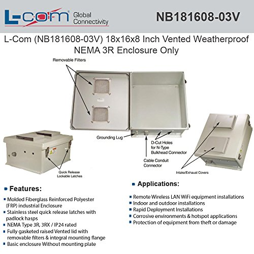 L-Com (NB181608-03V) 18x16x8 Inch Vented Weatherproof NEMA 3R Enclosure Only
