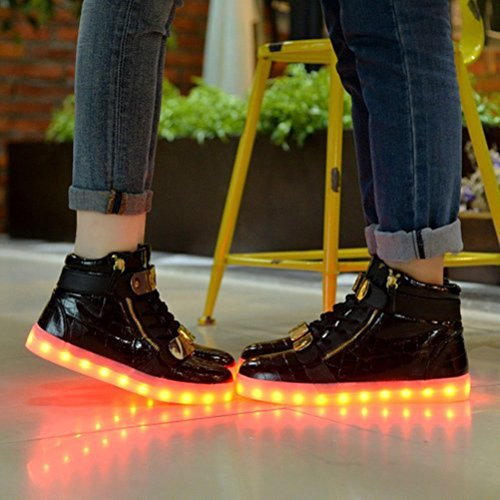[Presente:pequeña toalla]JUNGLEST® 7 Colores USB Carga LED Luz Glow Luminosos Light Up Flashing Sneakers Zapatos Deportivos de Charol Alto-Top Negro