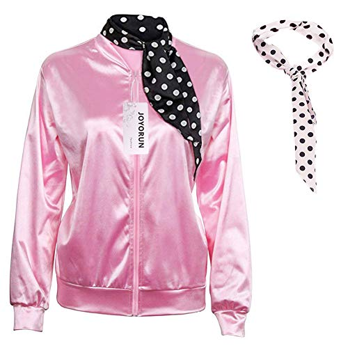 Leather Tuscadero Costumes - 1950s Pink Satin Jacket with Neck
