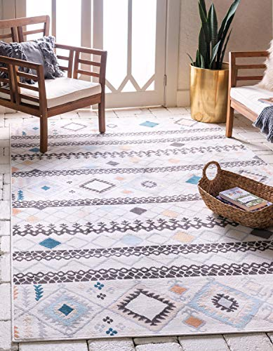 Unique Loom Outdoor Oasis Collection Modern Abstract Geometric Transitional Indoor and Outdoor Flatweave Ivory Area Rug (5' 0 x 8' 0)