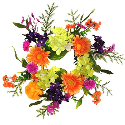 (Wreaths For Door Summer Fling Candle Ring Year Round Table Top Centerpiece Spring Summer Into Fall Cheerful Colors Orange Purple Pink Green Hydrangeas Daisies 12 Inch Candle Holder Accessory )