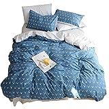 HIGHBUY Kids Boys Bedding Duvet Cover Set Twin Cotton Reversible Christmas Deer Pattern Blue Teen Girls Bedding Sets Twin 3 Piece Single Bed Comforter Covers with Zipper Closure