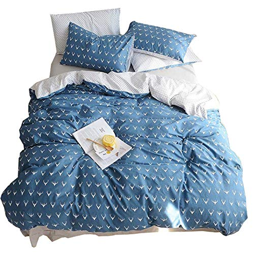 HIGHBUY Kids Boys Bedding Duvet Cover Set Twin Cotton Reversible Christmas Deer Pattern Blue Teen Girls Bedding Sets Twin 3 Piece Single Bed Comforter Covers with Zipper Closure