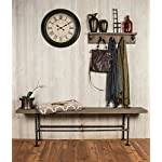 """Industrial Pipe Decor Floating Coat Hook Kit, Heavy Duty Wall Mounted, Rustic Iron DIY Style, Steel Grey Black For Entryway, 1/2"""" Inch Threaded Floor Flanges Fittings and Elbows, Strong Metal Hooks 8"""